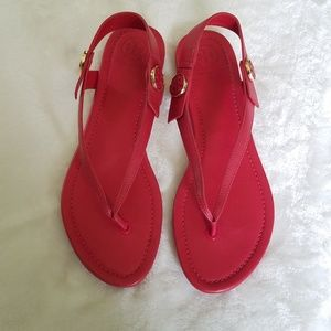 Tory Burch Red Minnie Travel Thong Sandals
